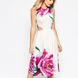 ASOS Cut-out White Skater Dress with Print
